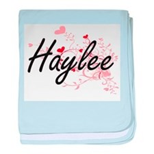 Haylee Artistic Name Design with Hear baby blanket