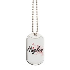 Haylee Artistic Name Design with Hearts Dog Tags