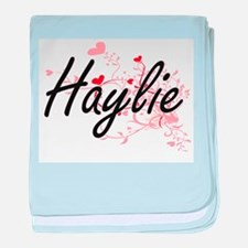 Haylie Artistic Name Design with Hear baby blanket