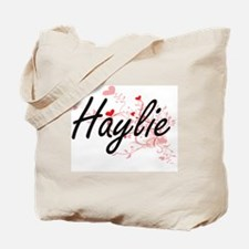 Haylie Artistic Name Design with Hearts Tote Bag