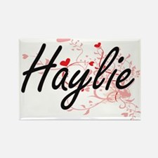 Haylie Artistic Name Design with Hearts Magnets