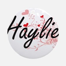 Haylie Artistic Name Design with Ornament (Round)