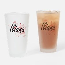 Iliana Artistic Name Design with He Drinking Glass