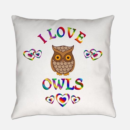 I Love Owls Everyday Pillow