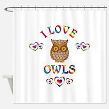 I Love Owls Shower Curtain