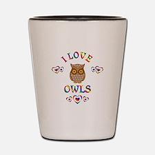 I Love Owls Shot Glass