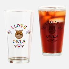 I Love Owls Drinking Glass