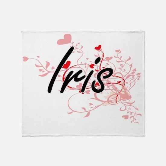 Iris Artistic Name Design with Heart Throw Blanket