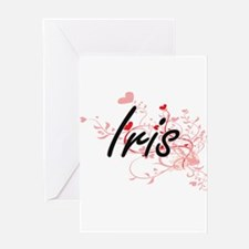Iris Artistic Name Design with Hear Greeting Cards