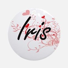 Iris Artistic Name Design with He Ornament (Round)
