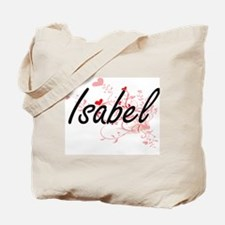 Isabel Artistic Name Design with Hearts Tote Bag