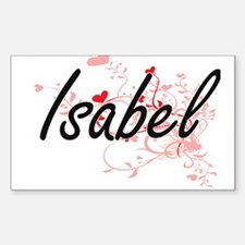Isabel Artistic Name Design with Hearts Decal