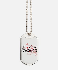 Isabela Artistic Name Design with Hearts Dog Tags