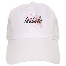 Isabela Artistic Name Design with Hearts Baseball Cap