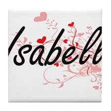 Isabell Artistic Name Design with Hea Tile Coaster