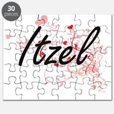 Itzel Artistic Name Design with Hearts Puzzle