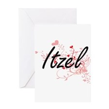 Itzel Artistic Name Design with Hea Greeting Cards