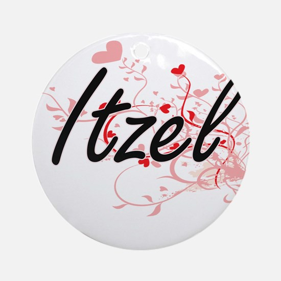 Itzel Artistic Name Design with H Ornament (Round)