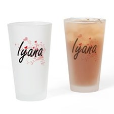 Iyana Artistic Name Design with Hea Drinking Glass