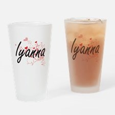 Iyanna Artistic Name Design with He Drinking Glass