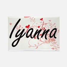 Iyanna Artistic Name Design with Hearts Magnets