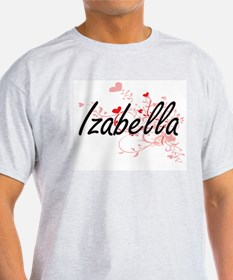 Izabella Artistic Name Design with Hearts T-Shirt