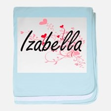Izabella Artistic Name Design with He baby blanket