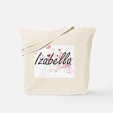 Izabella Artistic Name Design with Hearts Tote Bag