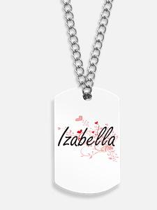 Izabella Artistic Name Design with Hearts Dog Tags