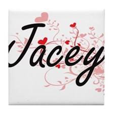 Jacey Artistic Name Design with Heart Tile Coaster