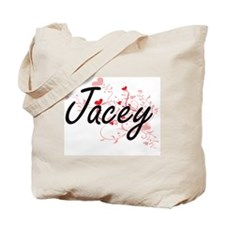 Jacey Artistic Name Design with Hearts Tote Bag