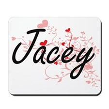 Jacey Artistic Name Design with Hearts Mousepad