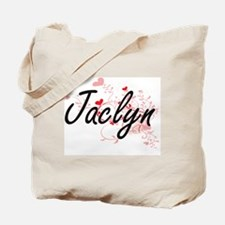 Jaclyn Artistic Name Design with Hearts Tote Bag