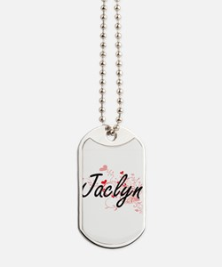 Jaclyn Artistic Name Design with Hearts Dog Tags