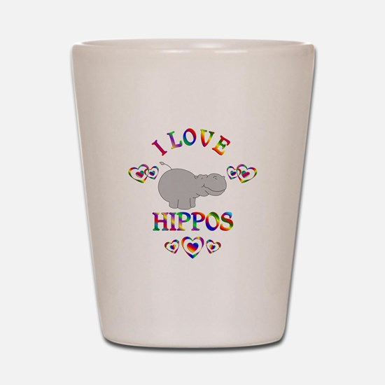 I Love Hippos Shot Glass