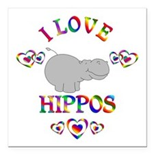 "I Love Hippos Square Car Magnet 3"" x 3"""
