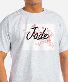 Jade Artistic Name Design with Hearts T-Shirt