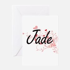 Jade Artistic Name Design with Hear Greeting Cards