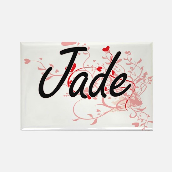 Jade Artistic Name Design with Hearts Magnets