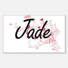 Jade Artistic Name Design with Hearts Decal