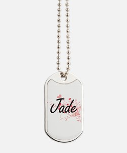 Jade Artistic Name Design with Hearts Dog Tags