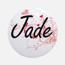 Jade Artistic Name Design with He Ornament (Round)