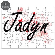 Jadyn Artistic Name Design with Hearts Puzzle