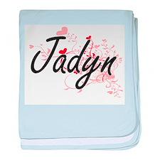 Jadyn Artistic Name Design with Heart baby blanket