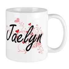Jaelyn Artistic Name Design with Hearts Mug