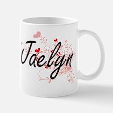 Jaelyn Artistic Name Design with Hearts Mug