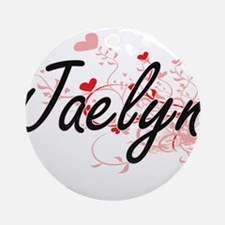Jaelyn Artistic Name Design with Ornament (Round)