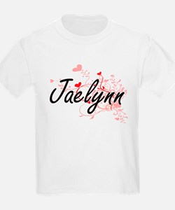 Jaelynn Artistic Name Design with Hearts T-Shirt