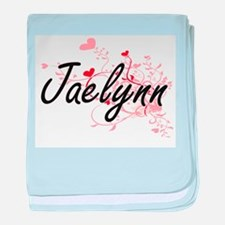 Jaelynn Artistic Name Design with Hea baby blanket