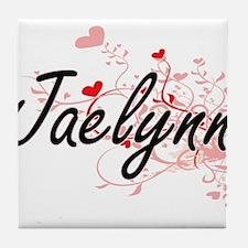 Jaelynn Artistic Name Design with Hea Tile Coaster